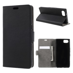 PU Leather Cover Wallet Stand Case for BlackBerry Keyone - Black