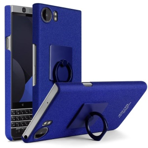IMAK Cowboy Shell Ring Grip Stand Matte PC Case com filme de tela para BlackBerry Keyone - Azul