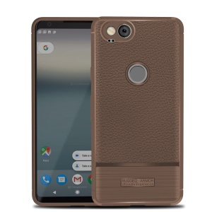 Litchi Texture TPU Phone Casing Shell for Google Pixel 2 - Brown