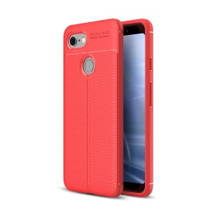 Litchi Texture TPU Mobile Phone Case for Google Pixel 3 - Red