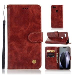Premium Vintage Wallet Leather Stand Case for Google Pixel 3 XL - Wine Red