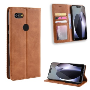 Vintage Style Leather Wallet Case for Google Pixel 3 XL - Brown