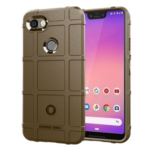 Anti-shock Square Grid Texture TPU Cellphone Case for Google Pixel 3 XL - Brown