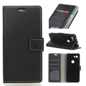 Litchi Skin PU Leather Protection Cell Phone Cover for Google Pixel 3 lite XL - Black