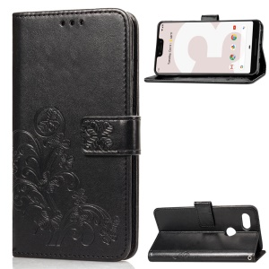 HAT PRINCE Imprinted Clover Leather Stand Wallet Cover for Google Pixel 3 XL - Black