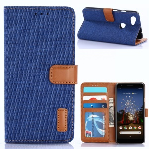 Jeans Cloth Leather Wallet Case for Google Pixel 3a - Baby Blue