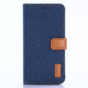 Jeans Cloth Leather Wallet Case for Google Pixel 3a - Dark Blue