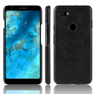 Litchi Skin Leather Coated Hard PC Case for Google Pixel 3a XL - Black