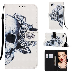 Pattern Printing Leather Stand Phone Cover for Google Pixel 3a XL - Rose Skull