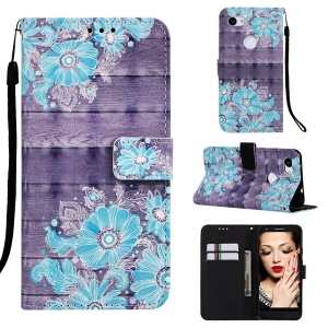 Pattern Printing Leather Stand Phone Cover for Google Pixel 3a XL - Blue Flower