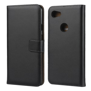 Genuine Leather Phone Shell with Stand for Google Pixel 3a - Black