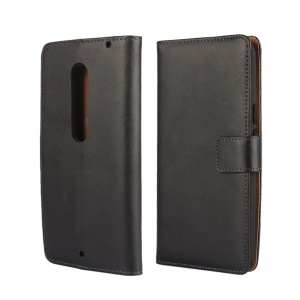 Wallet Stand Genuine Split Leather Case for Motorola Moto X Style - Black