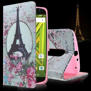 Callfree Eiffel Tower and Flowers Leather Cover Card Holder for Motorola Moto X Play
