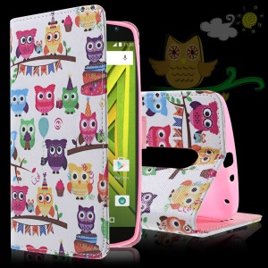 Callfree Cute Little Owls Leather Case Stand Card Holder for Motorola Moto X Play