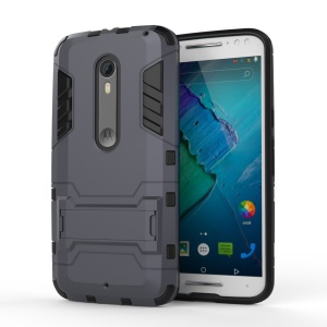 Kickstand PC + TPU Hybrid Phone Cover for Motorola Moto X Style - Dark Grey