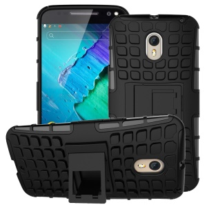 2 in 1 PC and TPU Kickstand Phone Case for Motorola Moto X Style - Black