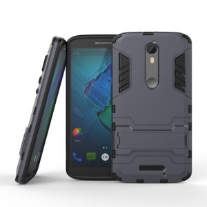 Plastic + TPU Hybrid Cover with Kickstand for Motorola Moto X Force / X3 - Dark Grey