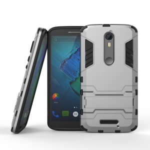 Plastic + TPU Shield Cover with Kickstand for Motorola Moto X Force / X3 - Grey