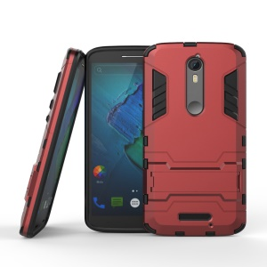 Plastic + TPU Shell Case Cover with Kickstand for Motorola Moto X Force / X3 - Red