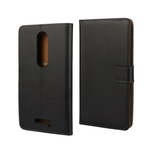 Flip Genuine Split Leather Wallet Case para Motorola Moto X Force / X3 - negro