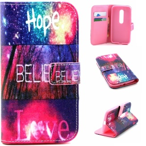 Leather Stand Cover for Motorola Moto G 3rd Gen XT1541 XT1543 - Hope Believe Love