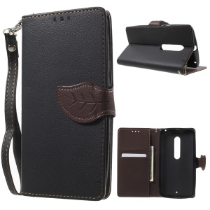 Leaf Flip Card Slot Leather Case for Motorola Moto X Play with Stand - Black