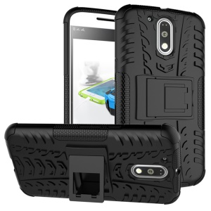 For Motorola Moto G4 / G4 Plus Tyre Pattern PC + TPU Combo Case - Black