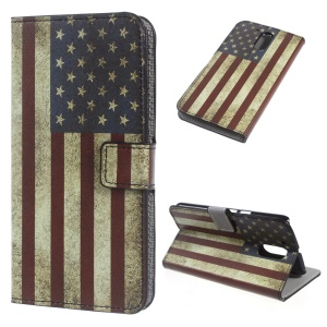 Patterned Leather Wallet Stand Cover for Motorola Moto G4 - Retro US Flag