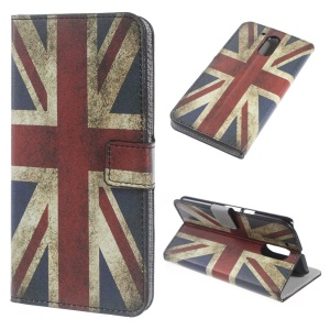 Patterned Leather Wallet Stand Case for Motorola Moto G4 - Retro UK Flag