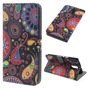 Patterned Leather Wallet Stand Shell for Motorola Moto G4 - Paisley Pattern