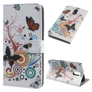 Patterned Magnetic Leather Wallet Stand Folio Cover for Motorola Moto G4 - Dancing Butterflies and Flowers