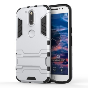 PC TPU Back Case for Motorola Moto G4/G4 Plus with Kickstand - Silver