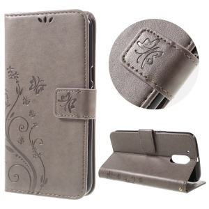 Imprinted Pattern Dual magnetic Wallet Leather Stand Cover for Motorola Moto G4/G4 Plus - Grey