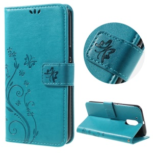 Imprinted Pattern Dual magnetic Wallet Leather Flip Phone Case for Motorola Moto G4/G4 Plus - Blue
