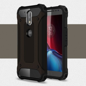 Armor PC TPU Back Cover for Motorola Moto G4/G4 Plus - Black