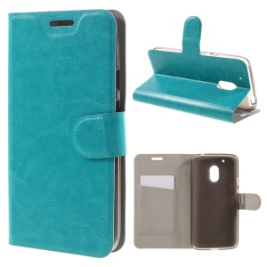 Crazy Horse Texture Flip Leather Wallet Stand Case for Motorola Moto G4 Play - Blue