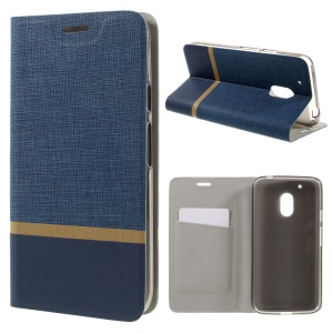 Lines Grain Card Slot Leather Stand Flip Shell  for Motorola Moto G4 Play - Blue
