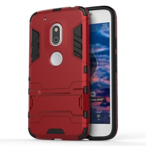 PC TPU Hybrid Phone Cover for Motorola Moto G4 Play with Kickstand - Red