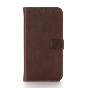 Crazy Horse Retro Flip Leather Wallet Shell for Motorola Moto G4 Play - Coffee