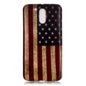 Soft IMD TPU Case Cover for Motorola Moto G4 / G4 Plus - Retro American Flag