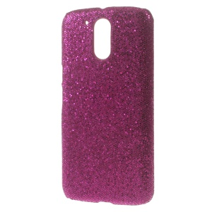 Rose Sequins Leather Coated PC Back Cover for Motorola Moto G4 / G4 Plus