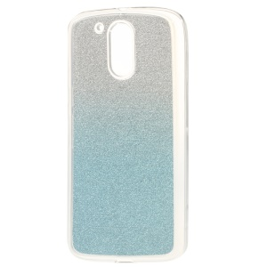 Gradient Glitter Powder TPU Case Shell for Motorola Moto G4 / G4 Plus - Baby Blue