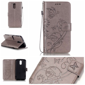 Butterfly Plant Wallet Leather Cover for Motorola Moto G4/G4 Plus - Grey