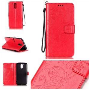 Butterfly Plant Wallet Leather Shell para Motorola Moto G4 / G4 Plus - Vermelho