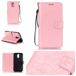Butterfly Plant Stand Leather Case for Motorola Moto G4/G4 Plus - Pink
