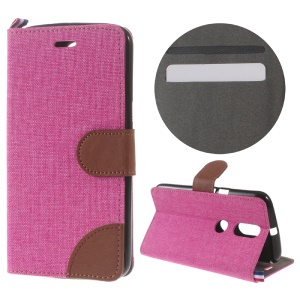 Denim Fabric Leather Cover with Card Slots for Motorola Moto G4/G4 Plus - Rose