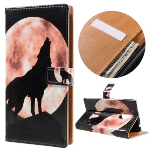 Patterned Flip Leather Wallet Case for Motorola Moto G4 Play - Wolf and Moon