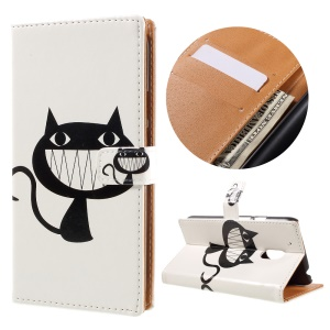 Patterned Flip Leather Wallet Cover for Motorola Moto G4 Play - Funny Cat