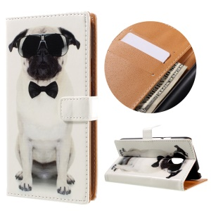 Patterned Flip Leather Wallet Shell for Motorola Moto G4 Play - Cool Dog