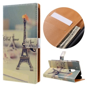 Wallet Stand Leather Phone Cover for Motorola Moto G4 Play - Eiffel Tower